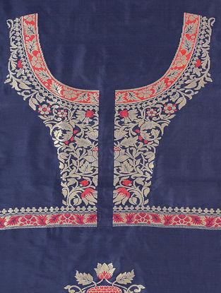 Blue-Red Benarasi Silk Blouse Fabric