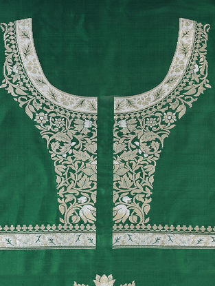 Green-White Benarasi Silk Blouse Fabric