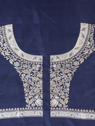 Blue-White Benarasi Silk Blouse Fabric