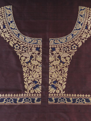 Maroon-Blue Benarasi Silk Blouse Fabric