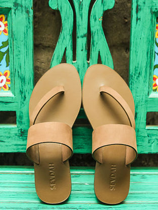 Brown Side Strap Leather Flats