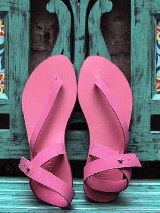 Pink Ankle Strap Leather Sandals