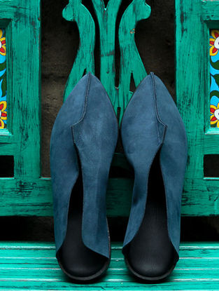 Blue Leather Mules