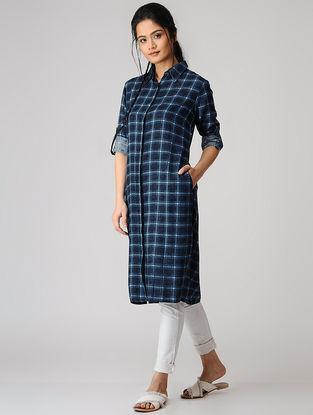 Blue Checkered Cotton Kurta