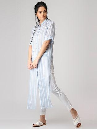 Blue-White Striped Cotton Kurta