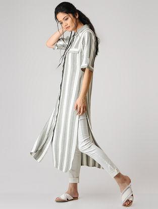 Grey-White Striped Cotton Kurta