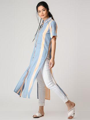 Blue-Peach Striped Cotton Kurta