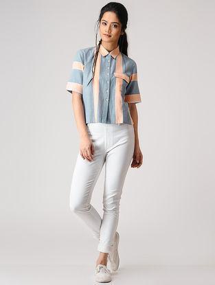Blue-Peach Button-up Striped Cotton Shirt