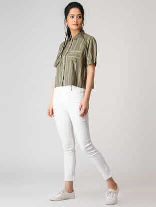 Olive Button-up Striped Cotton Shirt