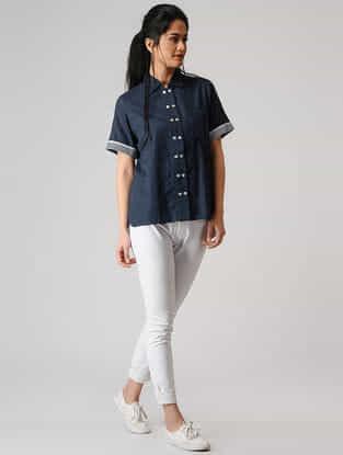 Blue Button-up Cotton Shirt