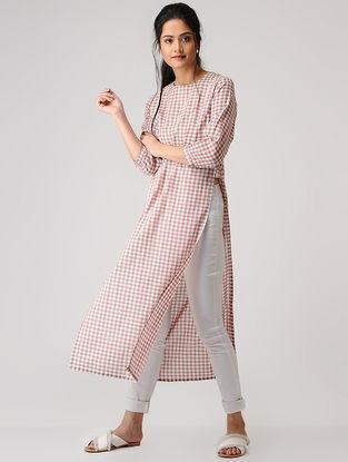 Pink-White Checkered Cotton Kurta