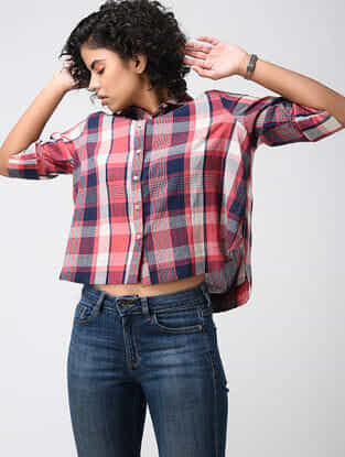 Red-Blue Checkered Cotton Crepe Shirt
