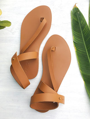 Tan Ankle Strap Leather Sandal