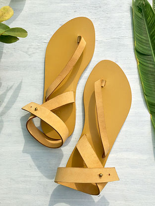 Mustard Ankle Strap Leather Sandal