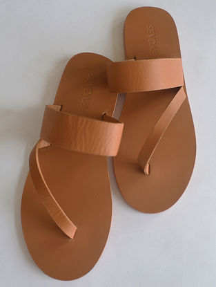 Tan Side Strap Leather Flats for Men