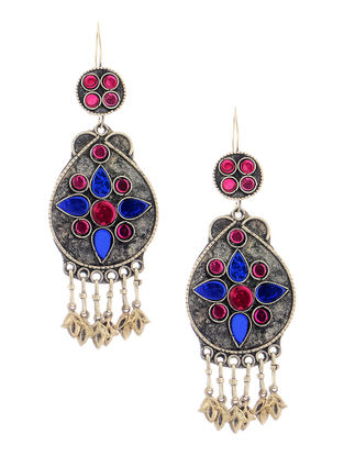Tribal Blue-Pink Glass Earrings