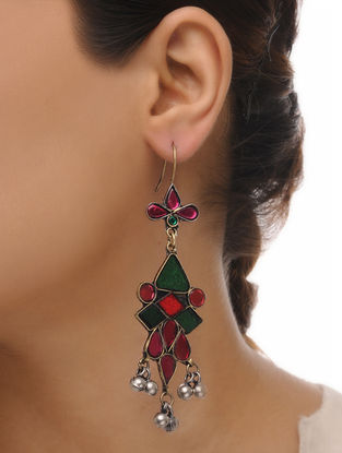 Red-Green Glass Tribal Earrings