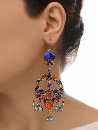 Yellow-Blue Glass Tribal Earrings
