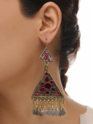 Pink Glass Tribal Earrings