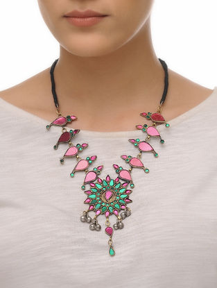 Green-Pink Glass Tribal Neckalce