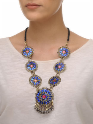 Blue-Pink Glass Tribal Neckalce