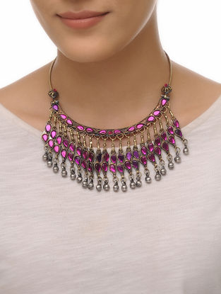 Purple Glass Tribal Neckalce