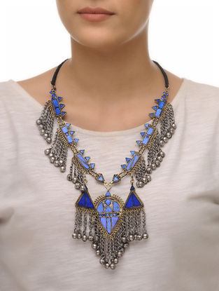 Blue Glass Tribal Necklace