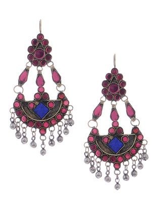Pink-Blue Glass Tribal Earrings