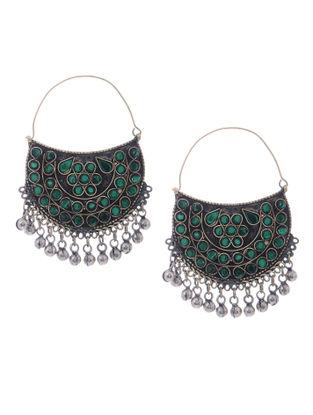 Green Glass Tribal Earrings