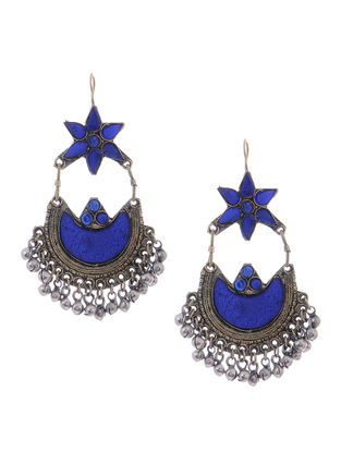 Blue Glass Tribal Earrings