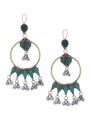 Green Glass Tribal Earrings