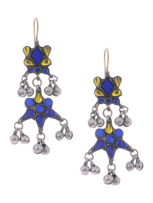 Blue-Yellow Glass Tribal Earrings