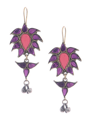 Purple-Pink Glass Tribal Earrings