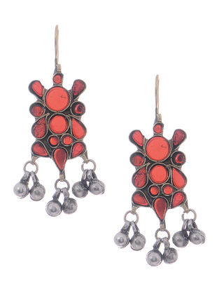 Red Glass Tribal Earrings