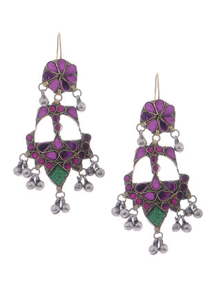 Green-Purple Glass Tribal Earrings
