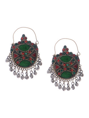 Green-Red Glass Tribal Earrings