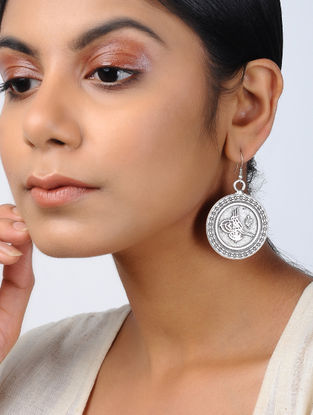 Classic Silver Tone Tribal Earrings