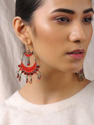 Red-Orange Glass Tribal Earrings