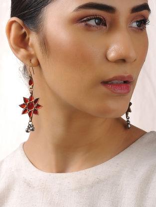 Orange Glass Tribal Earrings