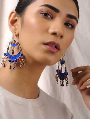 Red-Blue Glass Tribal Earrings