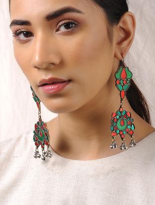 Green-Orange Glass Tribal Earrings