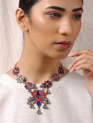 Blue-Orange Glass Tribal Necklace