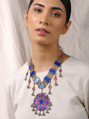 Blue-Pink Glass Tribal Necklace