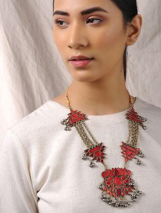 Red-Orange Glass Tribal Necklace