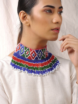 Multicolored Tribal Beaded Necklace