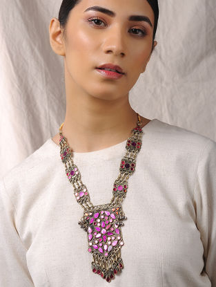 Purple-Pink Glass Tribal Necklace