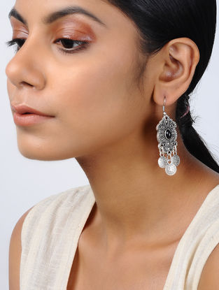 Black Silver Tone Tribal Earrings
