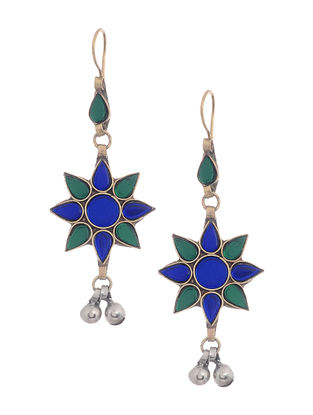 Blue-Green Glass Tribal Earrings