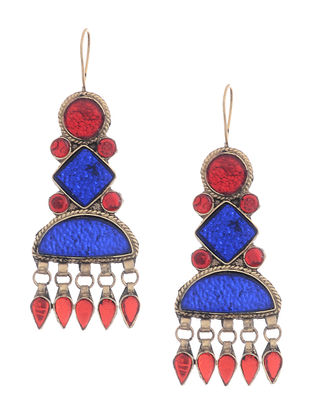 Red-Blue Glass Tribal Earrings