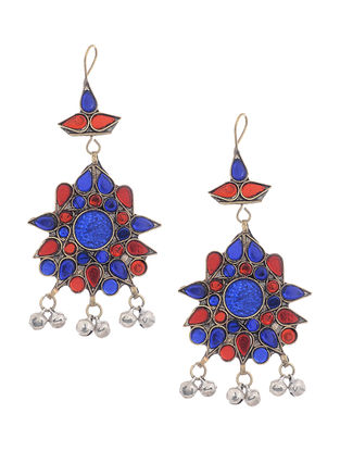 Blue-Pink Glass Tribal Earrings